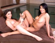 Glamorous Aida Sweet and Diana Dolce making out at the pool
